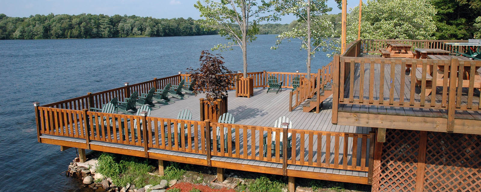 boathouse deck overlooking trout lake